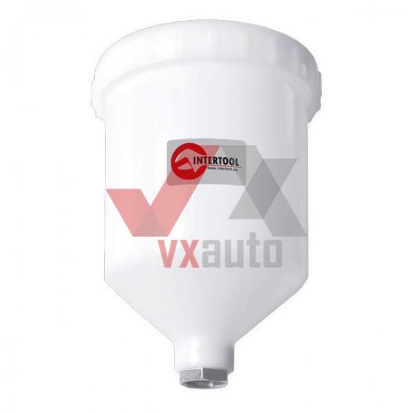 Бачок пластиковий для фарбопульта з внутрішньою різьбою М16х1.5, 600 мл Intertool