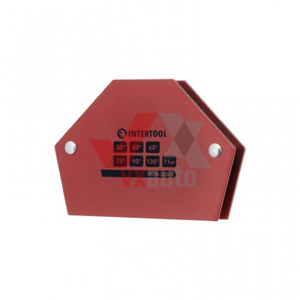 Тримач для зварювання магнітний 30°, 45°, 60°, 75°, 90°, 135°,11 кг,100 х 68 х 14 мм Intertool (трапеція)
