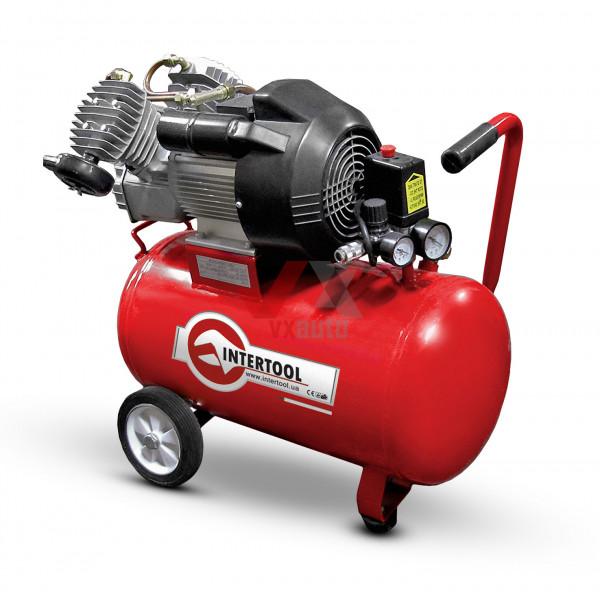 Компресор 50 л, 3 кВт,  220 В, 8 aтм, 420 л/хв, 2 циліндри Intertool