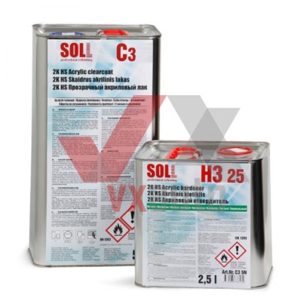 Лак акриловий 2:1  5 л SOLL 2K HS C3 (затв. H3 25 - 2500 мл)