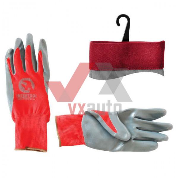 Рукавиці комбіновані з нітриловим покриттям (червоно-сірі) Intertool