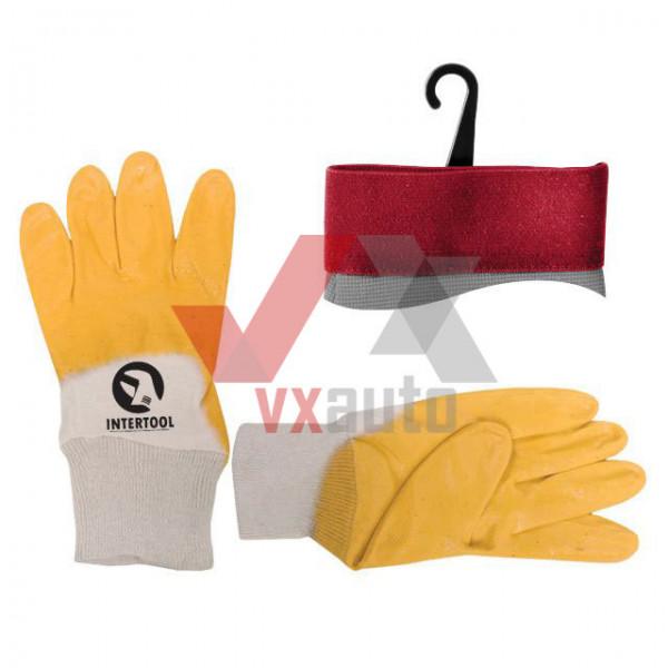 Рукавиці комбіновані з нітриловим покриттям (жовто-білі) Intertool