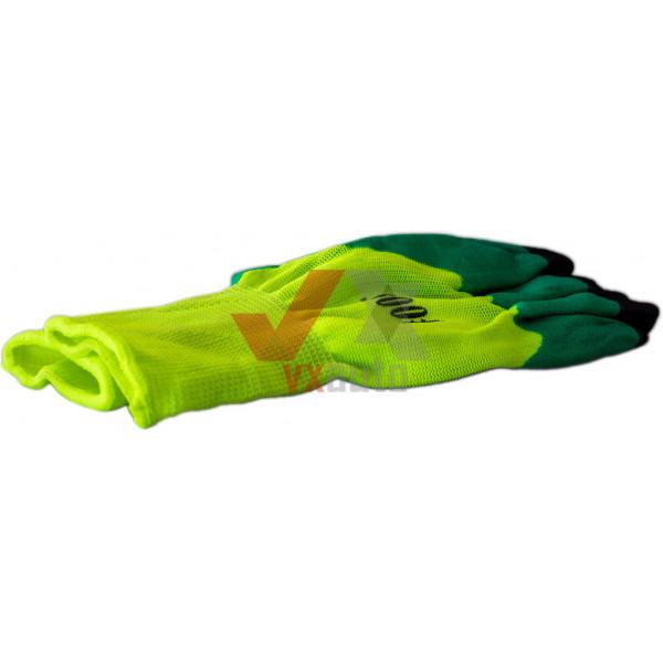 Рукавиці комбіновані з нітриловим покриттям (жовто-зелені)