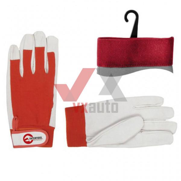 Рукавиці шкіряні комбіновані зі шкіри і тканини (червоно-білі) Intertool (манжет на липучці)