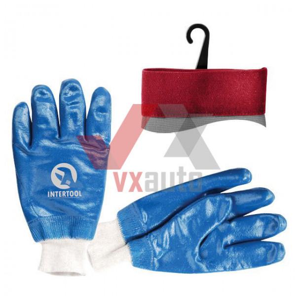 Рукавиці маслостійкі з нітриловим покриттям (сині) Intertool
