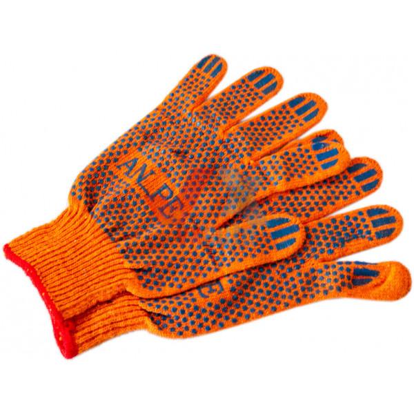 Рукавиці трикотажні з ПВХ крапкою 10 (помаранчеві) AN_PE