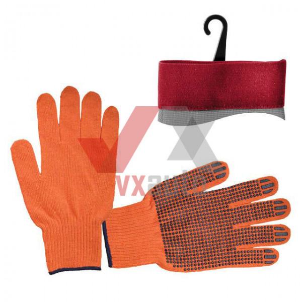 Рукавиці трикотажні з ПВХ крапкою 10 (помаранчеві) Intertool