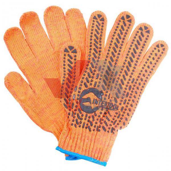 Рукавиці трикотажні з ПВХ крапкою  7 (помаранчеві) Intertool